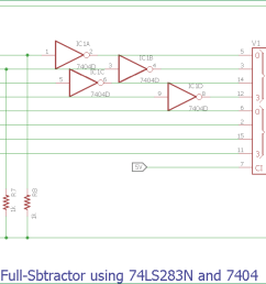 full subtractor circuit diagram using 74ls283n and 7404 [ 1424 x 605 Pixel ]