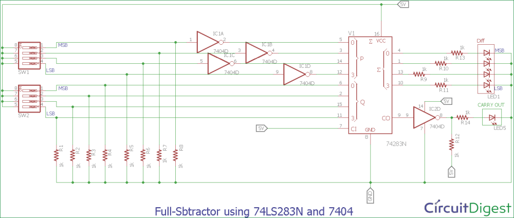 medium resolution of full subtractor circuit diagram using 74ls283n and 7404