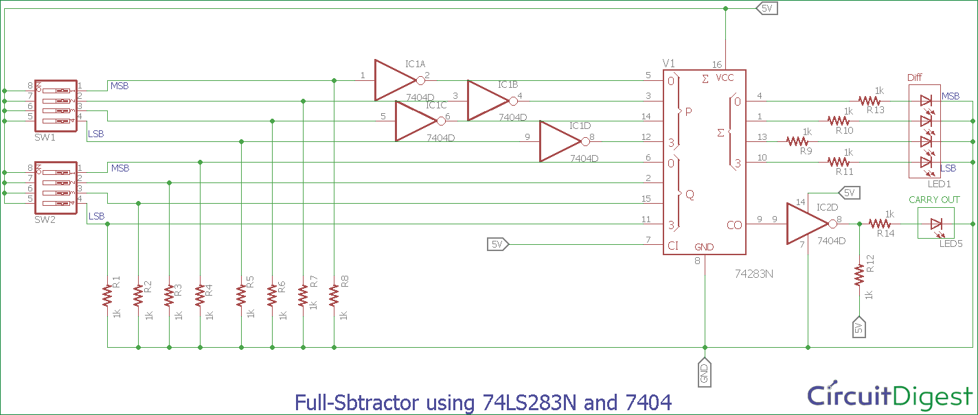 hight resolution of full subtractor circuit diagram using 74ls283n and 7404