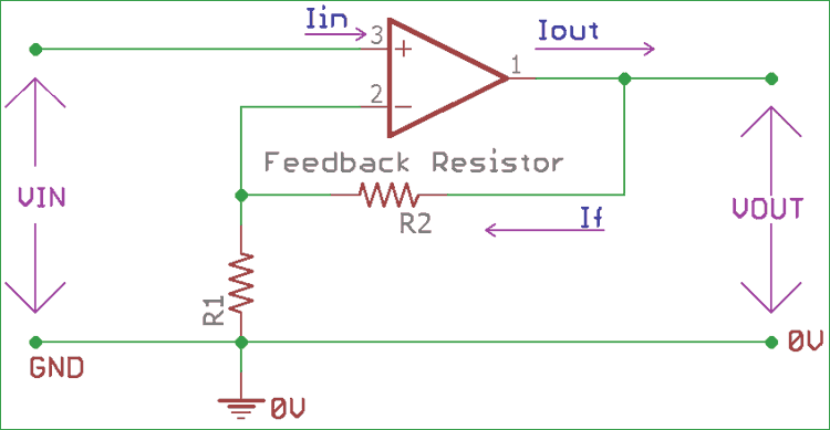 circuit diagram of non inverting amplifier phasor 3 phase operational op amp design