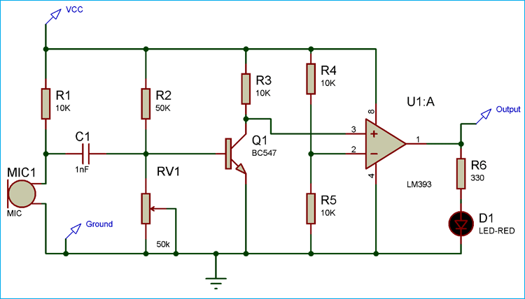 Sensitive Sound Activated Switch Circuit Diagram