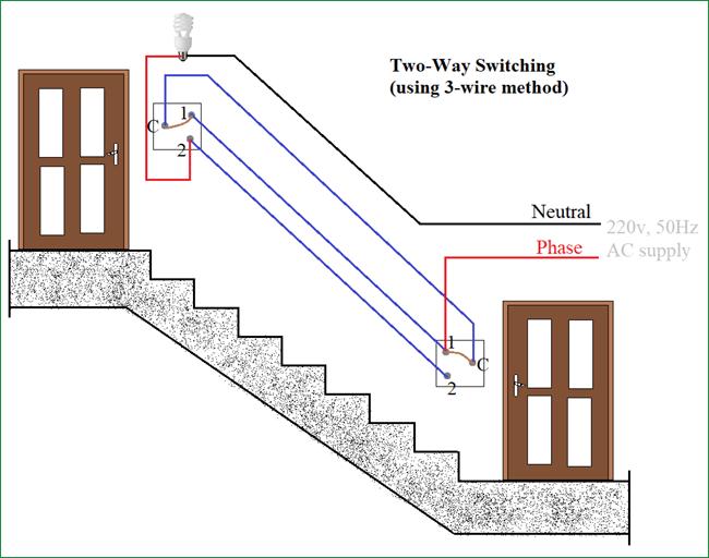 Cách kết nối công tắc 2 chiều