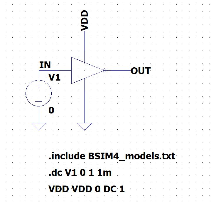 DC Characteristics of CMOS Inverter using LTSpice circuit