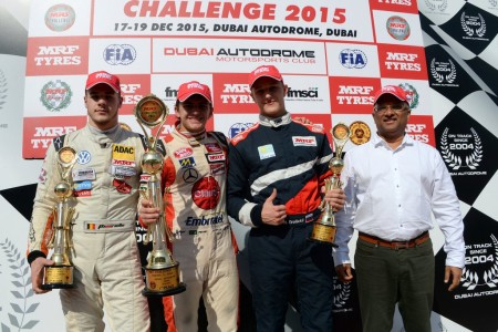 MRF Challenge Race 4 podium (L to R) third placed Alessio Picariello, winner Pietro Fittipald and third placed Nikita Troitcki with MRF Managing Director Arun Mammen