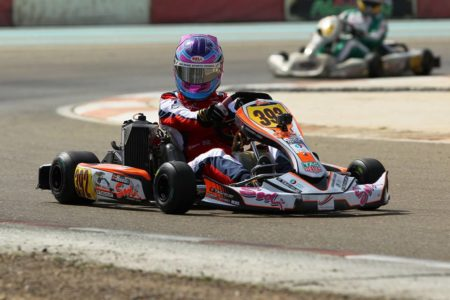 Logan Hannah in action at Dubai Kartdrome
