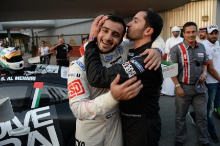 SkyDive Dubai's duo of Shk Hasher Al Maktoum congratulating Saeed Al Muhairi after his race 1 win
