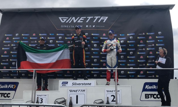 UK: Fifteen year old Kuwait racer Haytham Qarajouli celebrates maiden double rookie podium at Silverstone