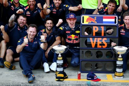 REd Bull racing team celebrates