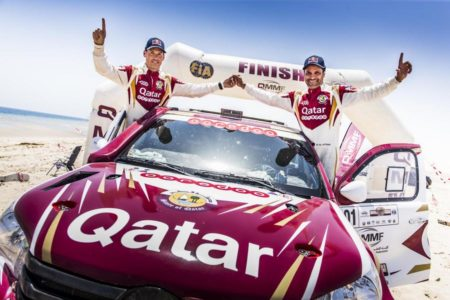 We are the champions - Nasser Saleh Al-Attiyah and Matthieu Baumel celebrate the Sealine win.