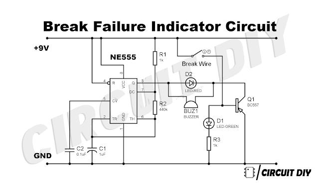 How to make Brake Failure Indicator Circuit Using 555 Timer