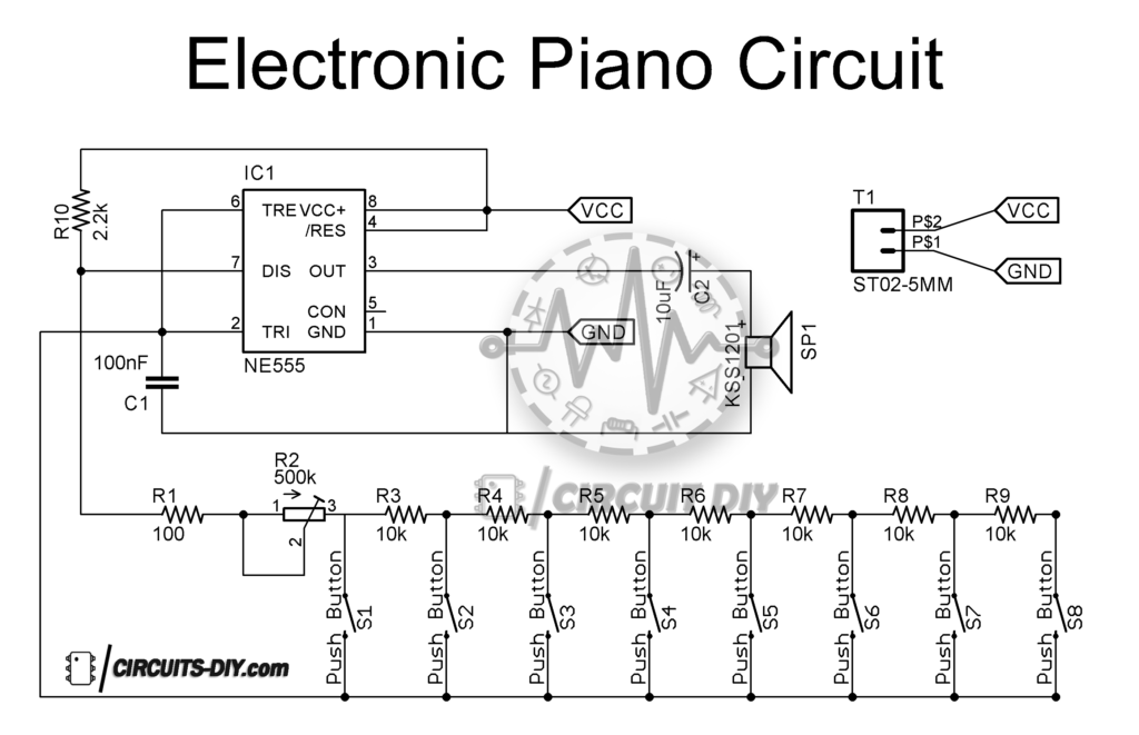 Electronic Piano Circuit using 555 Timer