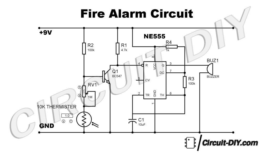 How to make a Fire Alarm Circuit using 555 timer