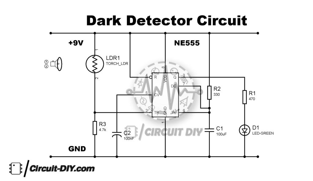 Dark Detector Circuit using LDR and 555 Timer