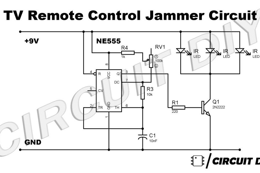 Simple TV Remote Jammer Circuit Using 555 Timer