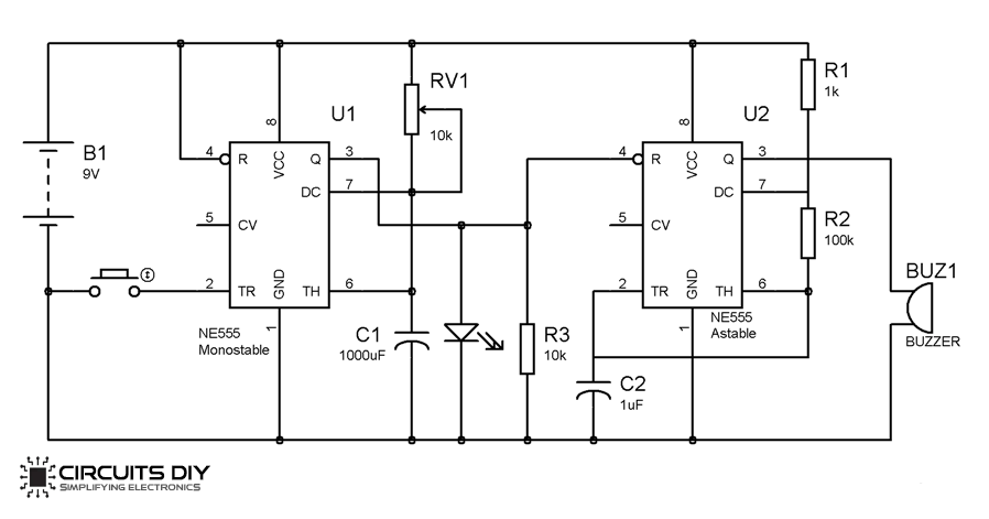 Simple DoorBell Circuit using 555 Timer IC