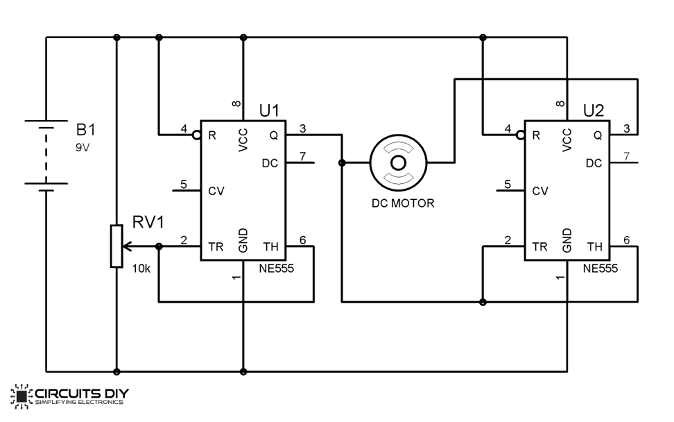 H-Bridge Motor Driver Circuit using 555 Timer