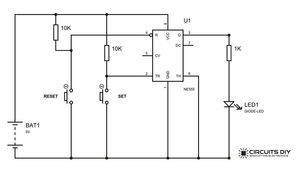 One Bit Memory Cell using 555 Timer IC