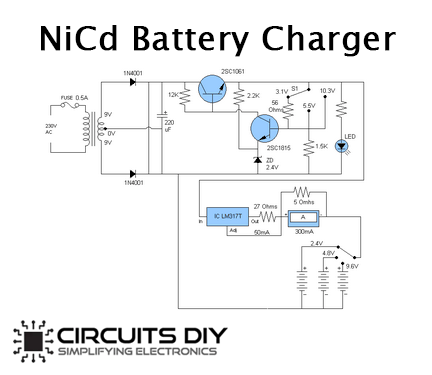 NiCd Battery Charger Schematic with 2SC1061 & 2SC1815