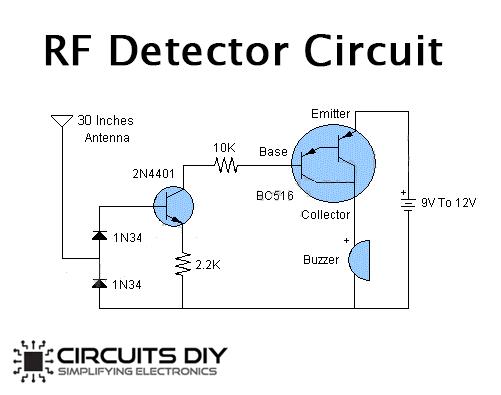 RF Detector using BC516 PNP Darlington Transistor