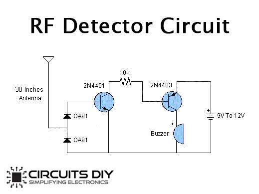 Simple RF Detector Circuit using Transistors