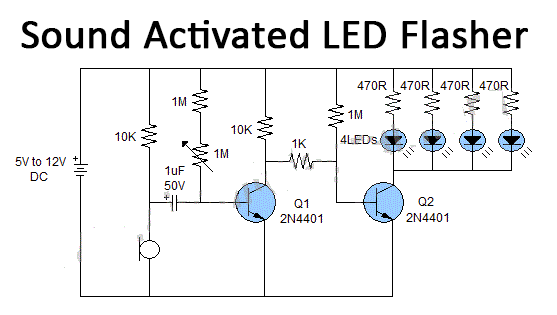 Sound Activated LED Flasher Using 2N4401 Transistor