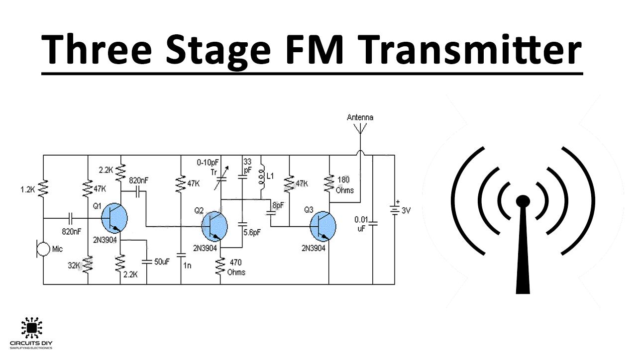 Three Stage FM Transmitter using 2n3904 Transistor