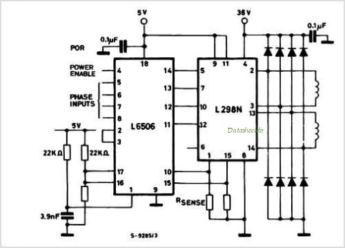 Stepper motor controller with L6506 and L298