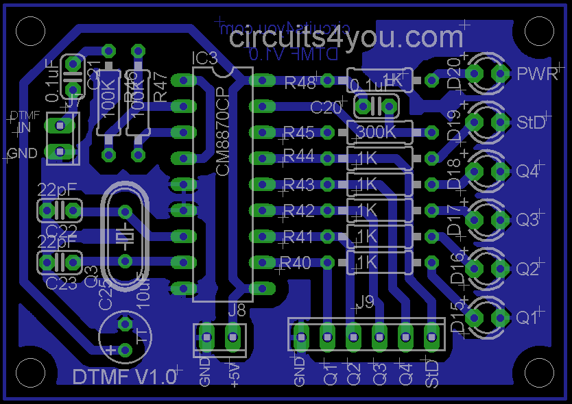 dtmf decoder ic mt8870 pin diagram 1997 ford explorer stereo wiring circuits4you com decode pcb layout