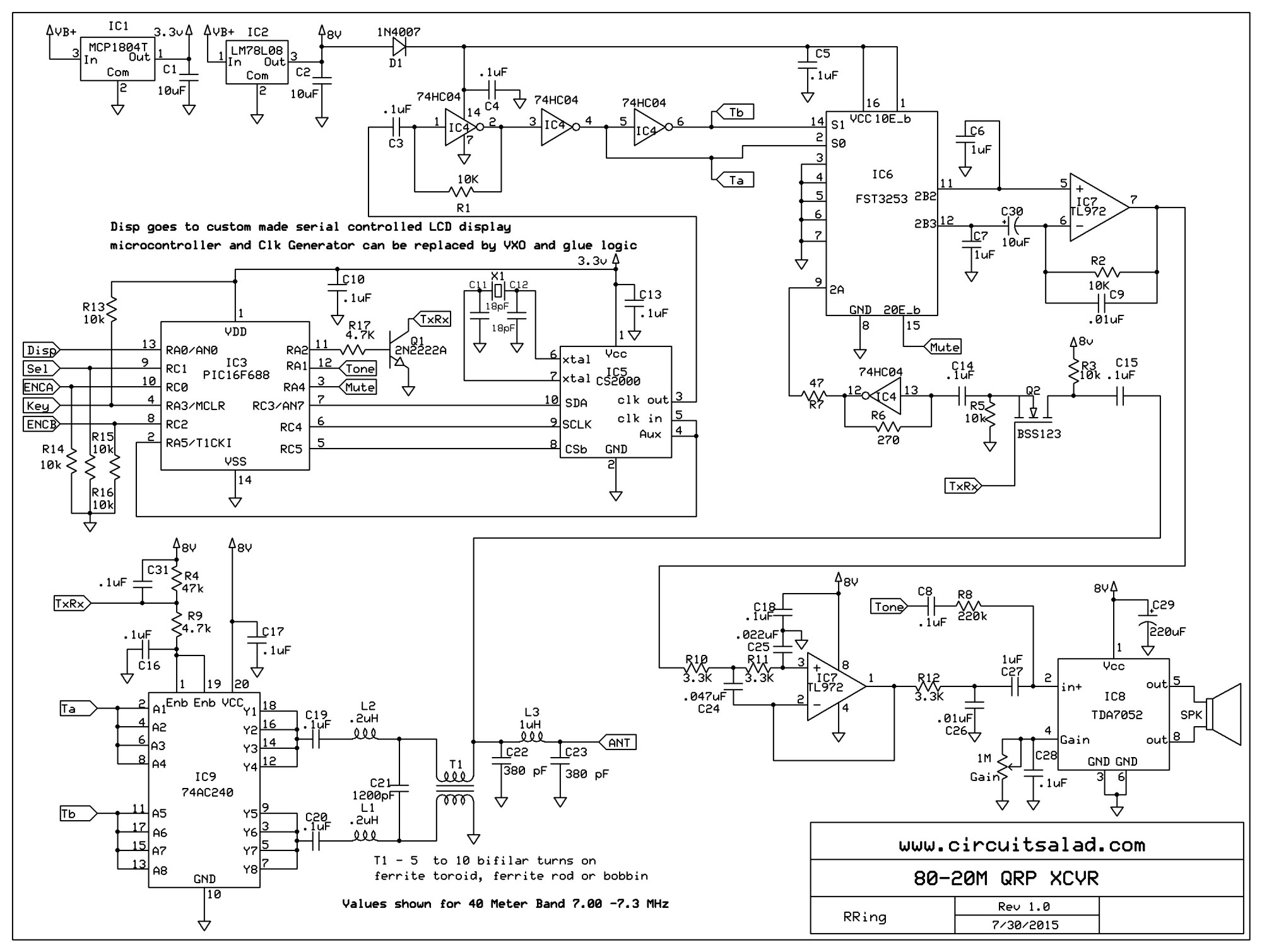 hight resolution of 40 meter direct conversion qrp transceiver using 74ac240 power amp simple directconversion receiver for 160 to 20 m circuit diagram