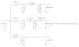 Loudspeaker System Crossover Network  Circuit Schematic