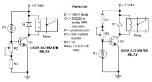 Dark and Light Activated Relay  Circuit Schematic