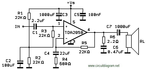 tda2050 amplifier circuit