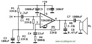 32W HiFi Audio Amplifier with TDA2050  Circuit Schematic