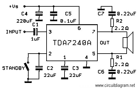 20W Bridge Amplifier using TDA7240A