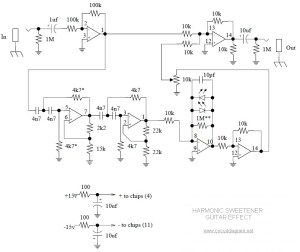 Harmonic Sweetener Guitar Effect  Circuit Schematic