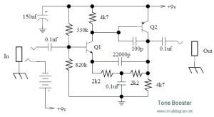 Tone Booster  Circuit Schematic