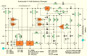 Automatic 9V Battery Charger  Circuit Schematic