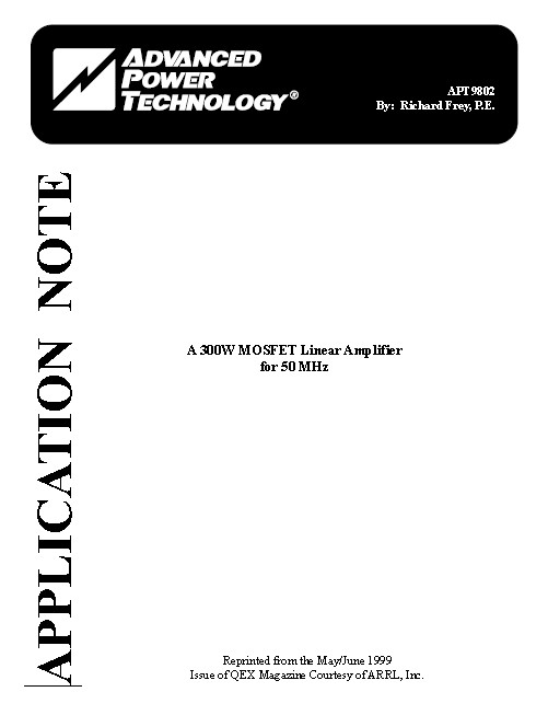 300W MOSFET Linear Amplifier for 500MHz Application Note