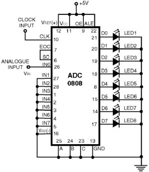 ADC0808  Simple Analoque to Digital Converter  Circuit