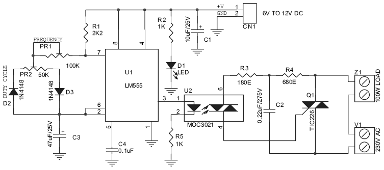 220V / 200W Lamp Flasher Circuit Schematic and PCB Layout
