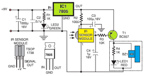 Simple Sensitive Tester for Infrared (IR) Remote Control  Circuit Schematic