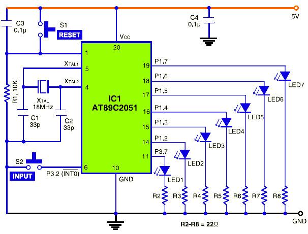 microcontroller based inverter circuit diagram 2008 chrysler sebring wiring diagrams electronic dice atmel at89c2051 - schematic