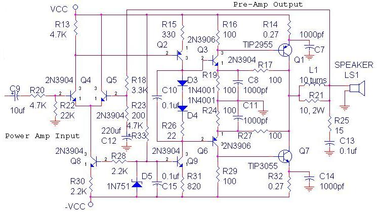 1000 Watts Power Amplifier Schematic Diagrams 70w Ocl Power Amplifier Circuit Schematic