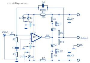 12W Audio Amplifier based MOSFET 2SK135  2SJ50  Circuit Scheme