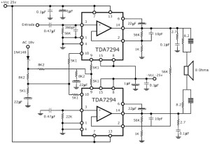 300W RMS Stereo Power Amplifier Circuit Schematic