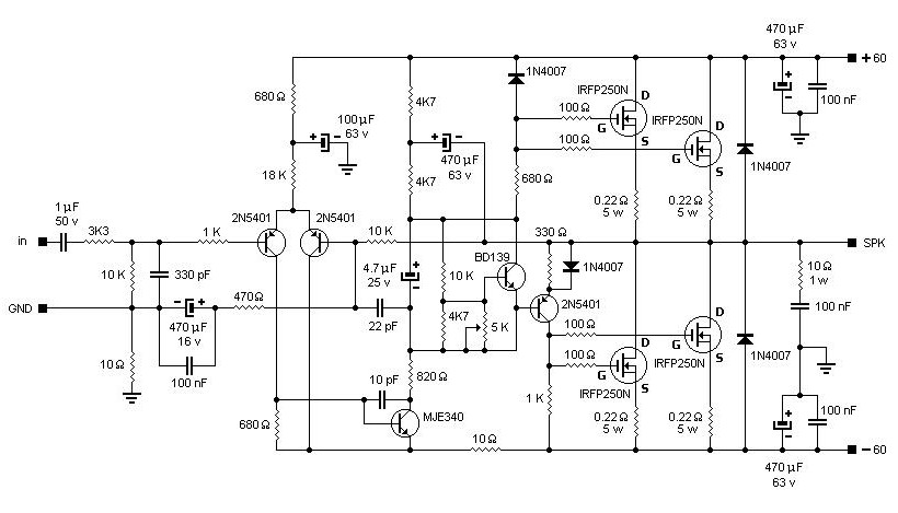 2000 watts power amplifier schematic diagram club car ds gas ignition switch wiring 200w mosfet based irfp250n - circuit