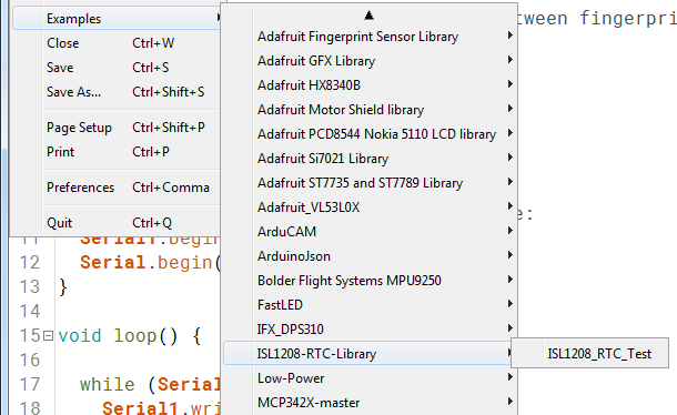 Opening the example sketch from Arduino IDE