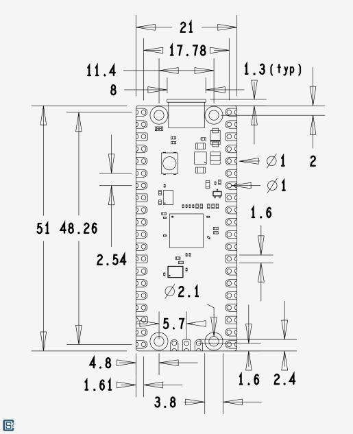 Raspberry-Pi-RP2040-Microcontroller-Pico-Board-Mechanical-1_1