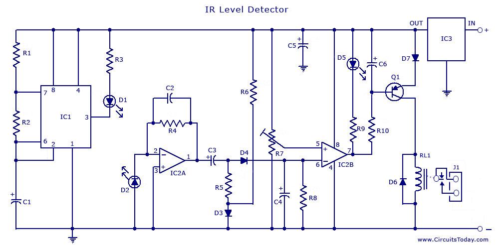 Infrared (IR) Sensor Circuit/Detector Circuit Diagram