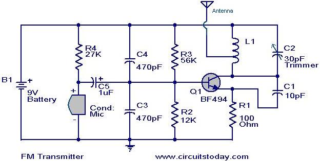 Simplest FM Transmitter-Modulation Circuit With BF494